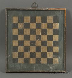 Small Painted Wooden Checkerboard with Green Border